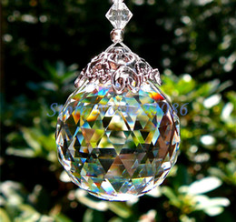 Wholesale Chandeliers Glass Balls - 1Pcs Huge 80mm Glass Chandelier Hanging Crystal Ball Sun catcher