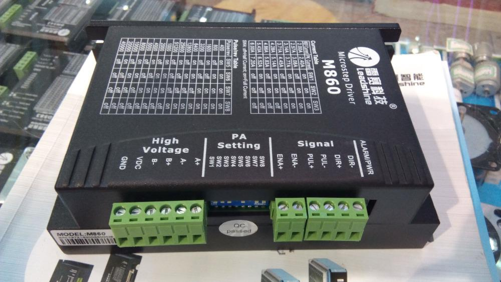 Spedizione gratuita New Leadshine driver passo-passo a 2 fasi M860 lavoro 24-80VDC uscita 2.0A-6A corrente adatta per nema 34 motore passo-passo CNC