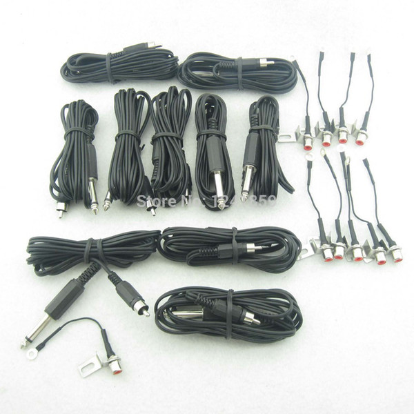 Wholesale-5 Sets Black RCA Jack Conversion Tattoo Power Clip Cord For Tattoo Power Kit Set Supply TCC05#