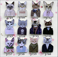 Wholesale Cute Badges - Yakeli the latest Japanese harajuku badge pin Cute cat meow star control people J749-J760