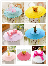 Wholesale Silicone Mug Lid Cover - 10 piece lot Sweet cartoon style Silicone Anti - Skid Water leak Cup Cover coffee Mug cap Cup Lid