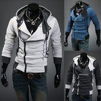 Wholesale Diagonal Zipper Jacket - Brand new 7 Colors M-XXXXL Diagonal Zipper Man Hoody Sweatshirt Streetwear Hooded Cap Cardigan Tops Coat Sudadera Casaco Com Capuz Jacket
