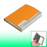Wholesale Faux Leather Textured Checked Pattern Business Card Case Orange