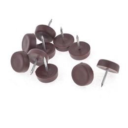 10 Pcs Plastic 17mm Dia Foot Feet Pads Cushion Brown For Furniture Chair