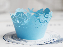 Wholesale Cupcakes Wrappers - Free Shipping blue lace ocean beach wedding cupcake wrappers paper cupcakes cup cake birthday baby shower supply favors