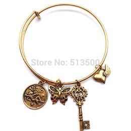 "Wholesale Charms Whosale - Zodiac Charm Bangel""Virgo"" Alex and Ani Style Wiring Bracelet Bangles Whosale Alex and Ani Charm"