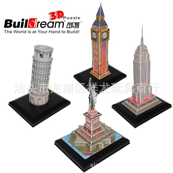 best selling 3D LED Lighting Puzzle The famous building Puzzle Toys 3D DIY Pluzzle for 5 years Old chirdren