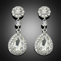 Wholesale 2 inch Platinum Silver Plated Rhinestone Crystal Earrings For Wedding Fashion Jewelry