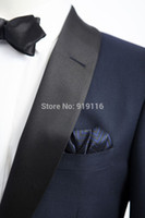 Wholesale White Silk Tuxedo Suits - 2016 New High Quality Silk and wool Shawl Lapel wedding tuxedos for men Bestman's suits Dinner jacket(bowtie+pants+jacket)
