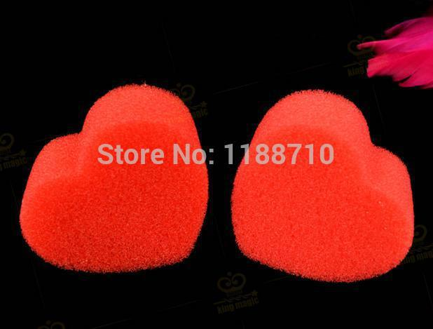 2 piezas / lote Magic Hearts - Double Red Sponge - Close Up Magic