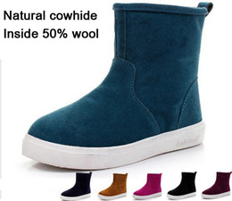 Wholesale Mens Blue Suede Ankle Boots - 2017 women boots Genuine Leather ankle suede snow boots winter shoes for men and women mens boot shoe 35-45 chaussure femme