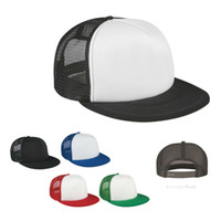 Wholesale Promotional Snapback Hats - Wholesale-2015 Flat Bill Trucker Cap Men Women Blank Mesh Two Tones Snapback Hat Promotional Cap One Piece Custom Logo Free Shipping
