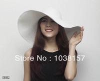 chapéus de palha planície flexível do verão venda por atacado-Atacado-1 PCS Moda Feminina Grande Brim Folding Verão Sol Floppy Branco Simples Chapéu Misturado Palha Beach Cap