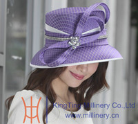 Wholesale Satin Dress Hats - Wholesale-Free Shipping New Women Hats 2015 Church Hat Satin Dress Feaher Brooch Brown Hat Ladies' 100% Polyester Coffee Color Feather