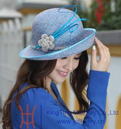 Wholesale Women Church Dresses - Wholesale-Free Shipping 2015 Women Hats Women Dress Fashion Accessories Satin Dress Church Hat 100% Polyester Made Blue Feather Bar Brooch