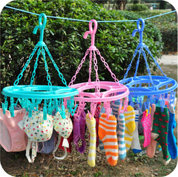 Wholesale Underwear Closet - Multi-function folding clothes-horse 18 clip hanger Underwear, socks powerful drying clothes pin JC17