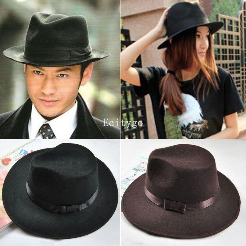 e5e22f76e0b Wholesale 4X New 2015 Women Men Vintage New Fashion Wide Brim Felt Felt  Wool Bowler Hats Floppy Cloche Fedora Cap Black  Amp Coffee UK 2019 From  Stylenew