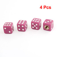 4 Pcs Rose Dice Style 7mm Dia Thread Pneu Tire Valve Caps Covers pour la voiture