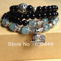 Wholesale Crystal Elephant Cuff Bracelet - Wholesale-D4207 National Black Agate Crystal Jade Beads With Tibet Silver Elephant Buddha Buddhism Fashion Vintage Healthy Charm Bracelets