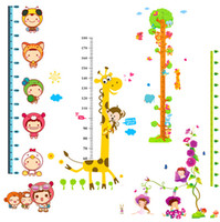 Wholesale Height Stickers - Hot sell Cartoon Animal Wall Stickers Height Ruler Vinyl Art Nursery Kids Baby Room Decor 7 Style can choose JE2