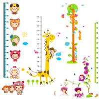 Wholesale Vinyl Ruler - Hot sell Cartoon Animal Wall Stickers Height Ruler Vinyl Art Nursery Kids Baby Room Decor 7 Style can choose JE2