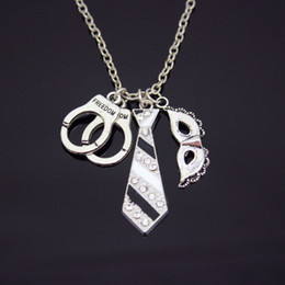 Wholesale Rhinestone Handcuffs - NEW HOT 50 Shades of Grey Silver Freedom Handcuffs Mask Tie Necklace