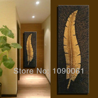 Wholesale Modern Abstract Lucky Gold Leaf Oil Painting Large Hand Painted Wall Decor Canvas Art Picture With No Framed