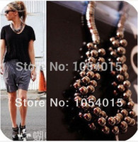 Wholesale Bubble Bead Necklaces - Wholesale-(min.order $10) Punk Style Girl's Fashion Jewelry Unique Multilayer Bubble Beads Choker Statement Necklace N-090