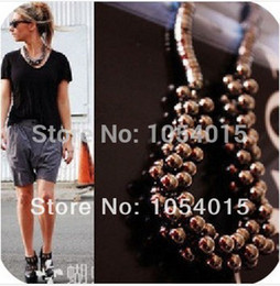 Wholesale Unique Chokers - Wholesale-(min.order $10) Punk Style Girl's Fashion Jewelry Unique Multilayer Bubble Beads Choker Statement Necklace N-090