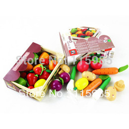 Wholesale Play Safe Kids - Wholesale-1 box wooden baby kids Pretend Play basket Kitchen Toys fruits&vegetables box play house toys coloful safe wood free shipping