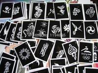 imagen de tatuajes al por mayor-Al por mayor-100pcs / lot Mixed tattoo stencil para la pintura de henna tatuaje diseños diseños reutilizables aerógrafo tatuaje plantilla