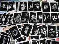 Wholesale Wholesale Henna Tattoo Stencils - Wholesale-100pcs lot Mixed tattoo stencil for painting henna tattoo pictures designs reusable airbrush tattoo stencil