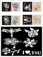 Wholesale glitter body art tattoo stencil resale online - Mixed Designs Tattoo Stencils for Body Art Painting Temporary Glitter Tattoo Kit