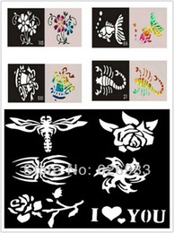Stencils For Body Painting Canada - Wholesale-200pcs lot Mixed Designs Tattoo Stencils for Body Art Painting - Temporary Glitter Tattoo Kit - Free shipping