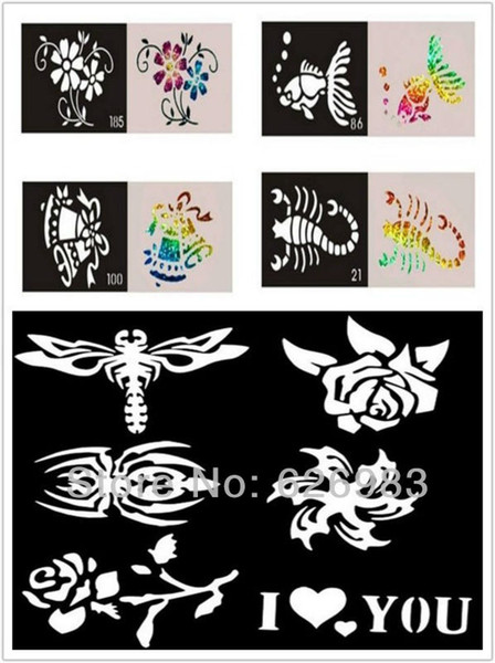 Wholesale-200pcs/lot Mixed Designs Tattoo Stencils for Body Art Painting - Temporary Glitter Tattoo Kit - Free shipping