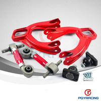 Wholesale Camber Civic - PQY STORE-FOR HONDA CIVIC 92-95 INTEGRA JDM FRONT UPPER CONTROL ARM TUBE CAMBER KIT+ 92-00 Adjustable Rear Camber Arms RED