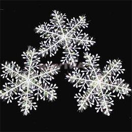 pack blanc neige Promotion Flocons de neige de Noël Flocon de neige blanc Ornements de vacances Fête de Noël Decortion Festival Party Decor 300PCS = 10 Packs