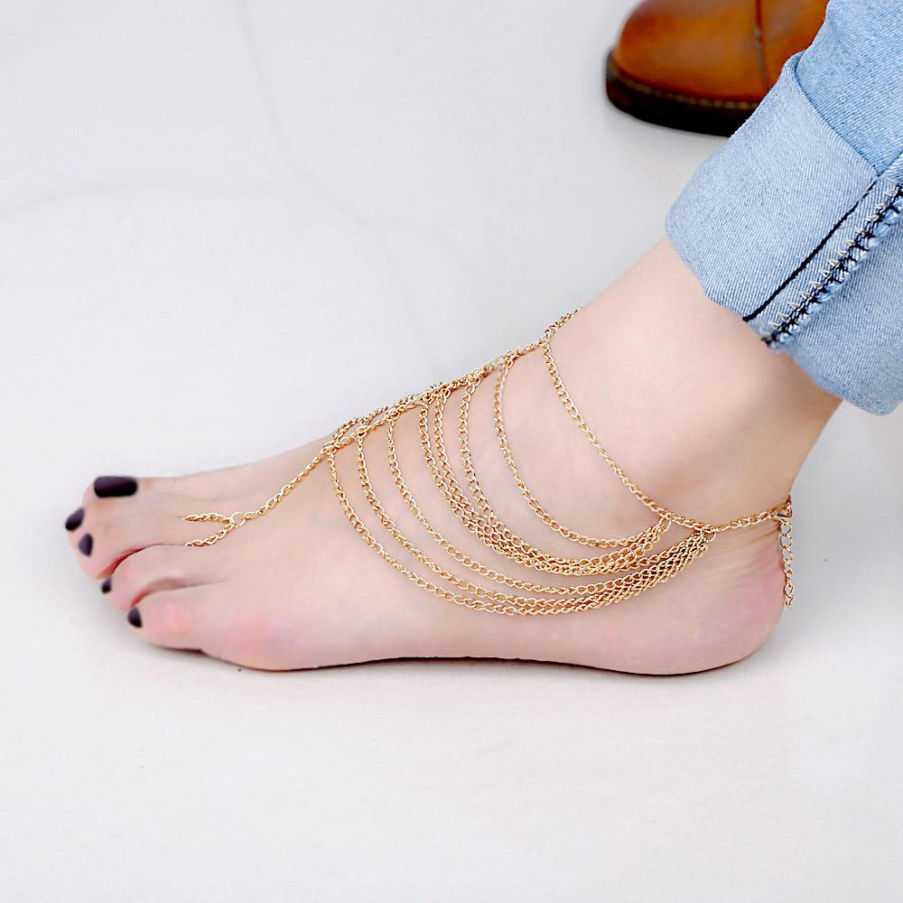 Gold Beach Multi Tassel Anklets Foot Chain New Simple Women's Barefoot  Sandal Anklet Jewelry Girls Harness Toe Link Bracelet J0049