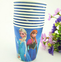 Wholesale Wholesale Party Paper Cups - FROZEN Elsa and Frozen Anna Disposable Paper Cups Good Girl children cartoon straw cup toys for children Wedding Party Cup JG3