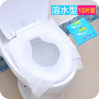 Wholesale Disposable Sanitary - New 5Packs 50Pcs lot Disposable Paper Toilet Seat pad Covers Camping Festival Travel Loo Biodegradable Disposable Sanitary JG10
