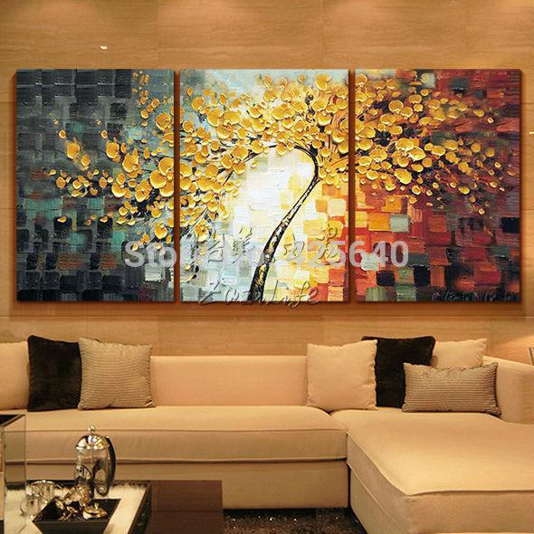 Wholesale oil painting 3 panel canvas wall art picture modern abstract home decor living room set hand painted palette knife tree decorative painting on
