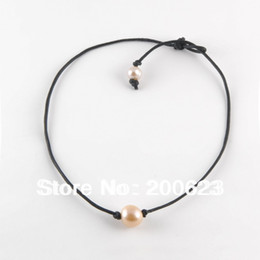 Wholesale Necklace Surfer - Wholesale-Real Cowhide Freshwater Pearl Bead Necklace Costume Jewelry,Black Leather Pearl Surfer Chokers