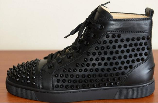 89d043ded06b Wholesale New Arrivals Black Genuine Leather High Top Shoes 2015 Fashion  Rivets Spikes Men Red Bottom Sneakers Wholesale Shoes Cool Shoes From Bida  Josh