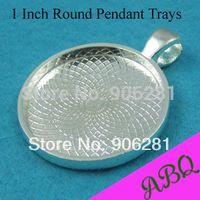 Wholesale round pendant trays - Wholesale-1 Inch Round Pendant Tray, 25mm Cabochon Setting, Round Bezel Pendant Blanks, Blank Cameo Settings(Random colors)