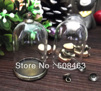 Wholesale glass globe necklace - Wholesale-Free ship!!! ! NEW 20sets lot 38*25mm glass globe & setting base & cap set glass cover DIY Glass vial jewelry glass