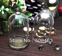 Wholesale Glass Globe Necklace - Wholesale-Free ship!!! ! NEW 20sets lot 38*25mm glass globe & setting base & cap set glass cover DIY Glass vial jewelry glass