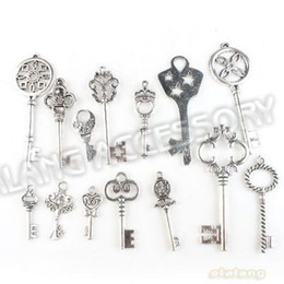 Wholesale New Jewerly - Wholesale-New Fashion 42pcs lot Key Optional Assorted Charm Pendant Antique Alloy Silver Plated Jewelry Finding Fit Jewerly DIY 142764