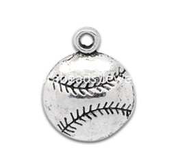Wholesale baseball necklace charms silver - Wholesale-Free Shipping! 50 Silver Tone Baseball Charm Pendants 18x14.5mm (B12662)