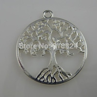 Wholesale Silver Tree Pendants - Wholesale-Free shipping ( 25 pieces lot) Silver Tone Alloy Round Vitality Tree of Life Tree Pendant Charm