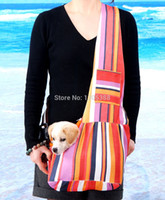Wholesale Cpam Carrier - Wholesale-New Colorful Canvas Pet Sling Dog Cat Carrier Bag Free Shipping by CPAM Bag for dog